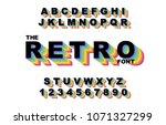 80's retro alphabet font.... | Shutterstock .eps vector #1071327299