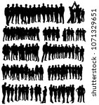 silhouette of a crowd  group of ... | Shutterstock .eps vector #1071329651