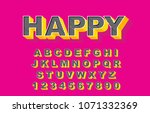 3d bold retro alphabet font.... | Shutterstock .eps vector #1071332369