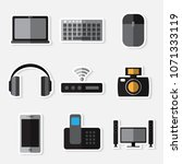 stickers set of simple devices... | Shutterstock .eps vector #1071333119