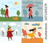 a girl in all four seasons and... | Shutterstock .eps vector #1071335279