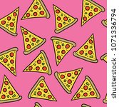 pizza slices drawing on pink... | Shutterstock .eps vector #1071336794