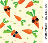 seamless background of carrots... | Shutterstock .eps vector #1071338429