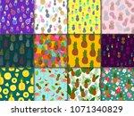 pineapple seamless pattern...   Shutterstock .eps vector #1071340829