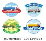 vector flat trucks icon... | Shutterstock .eps vector #1071344195