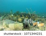 underwater pollution in ocean... | Shutterstock . vector #1071344231