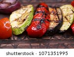 grilled vegetables of different ... | Shutterstock . vector #1071351995