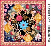 square silk scarf with stylized ... | Shutterstock .eps vector #1071356975