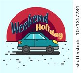 weekend getaway with blue car | Shutterstock .eps vector #1071357284