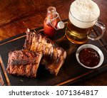 grilled or barbecued spicy ribs ... | Shutterstock . vector #1071364817