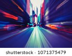abstract motion speed in city  | Shutterstock . vector #1071375479