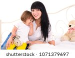 young smiling woman with long... | Shutterstock . vector #1071379697