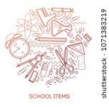 school items. modern flat... | Shutterstock .eps vector #1071383219
