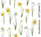 seamless floral pattern on... | Shutterstock .eps vector #1071384671