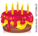 colorful birthday cake with candles - stock vector