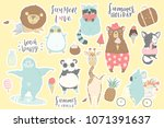 cute animals charachters... | Shutterstock .eps vector #1071391637