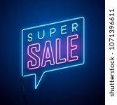 neon sale sign. vector... | Shutterstock .eps vector #1071396611