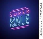 neon sale sign. vector... | Shutterstock .eps vector #1071396644