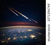 falling meteorite  asteroid ... | Shutterstock . vector #1071396749