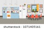 modern cozy kitchen interior...   Shutterstock .eps vector #1071405161