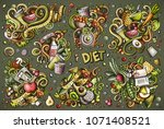 colorful vector hand drawn... | Shutterstock .eps vector #1071408521