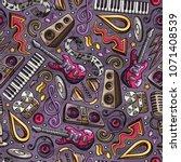 cartoon hand drawn disco music... | Shutterstock .eps vector #1071408539