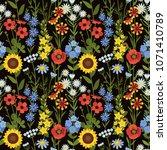 vector seamless floral pattern. ... | Shutterstock .eps vector #1071410789