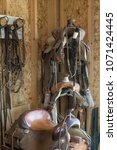 Small photo of Horse saddles in tack room