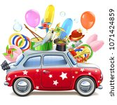 vector circus red car isolated... | Shutterstock .eps vector #1071424859