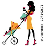 chick fashion mom shopping with ... | Shutterstock .eps vector #107142671