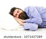 sleeps like baby concept. man... | Shutterstock . vector #1071427289