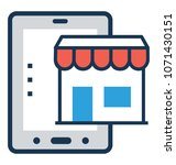 m commerce flat and line icon  | Shutterstock .eps vector #1071430151