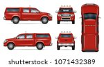 pickup truck vector mock up.... | Shutterstock .eps vector #1071432389