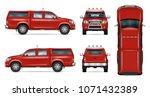 pickup truck vector mock up.... | Shutterstock .eps vector #1071432389