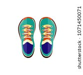 sneakers sport shoes top view... | Shutterstock .eps vector #1071450071