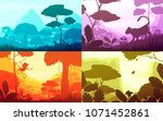 jungle set of cartoon... | Shutterstock .eps vector #1071452861
