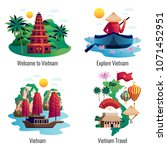 vietnam 2x2 design concept with ... | Shutterstock .eps vector #1071452951