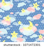 seamless moons and clouds... | Shutterstock .eps vector #1071472301