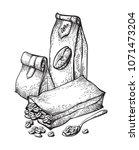 vector set coffee packaging...   Shutterstock .eps vector #1071473204
