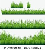 vector  green grass borders set.... | Shutterstock .eps vector #1071480821
