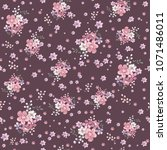 seamless vintage floral pattern ... | Shutterstock .eps vector #1071486011