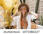 emotional girl with blonde... | Shutterstock . vector #1071486227