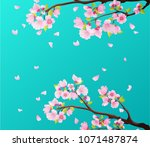 branches of pink blossoming... | Shutterstock .eps vector #1071487874