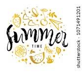 summer time. watermelon ... | Shutterstock .eps vector #1071491201