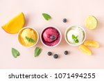 three various fruit and berries ... | Shutterstock . vector #1071494255