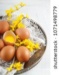 brown hen's eggs decorates with ... | Shutterstock . vector #1071498779