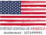 usa flag vector outline... | Shutterstock .eps vector #1071499991