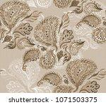 paisley watercolor ethnic... | Shutterstock . vector #1071503375