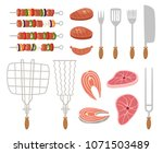 barbecue elements isolated on... | Shutterstock . vector #1071503489
