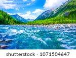 Mountain Blue River Stream...